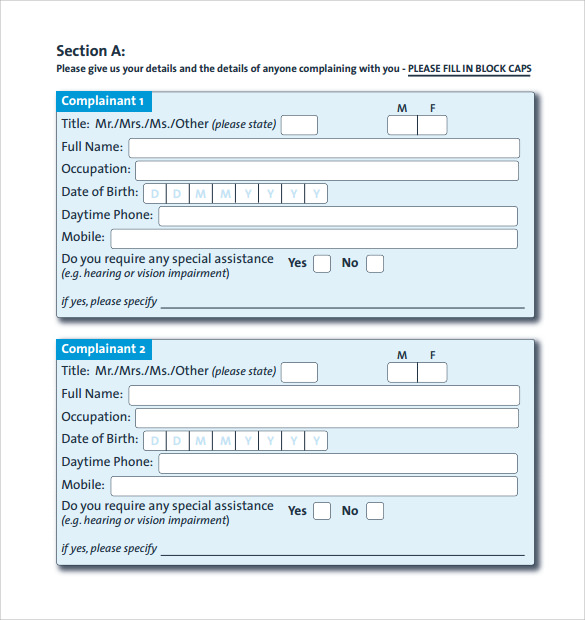 Sample Financial Ombudsman Service Complaint Form   Download