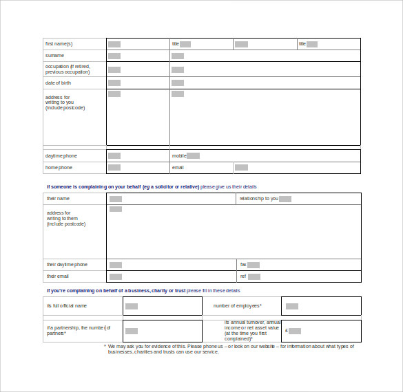 ... Financial Ombudsman Letter Template Financial Ombudsman Service Complaint  Form 8 Free Documents In Pdf Word ...