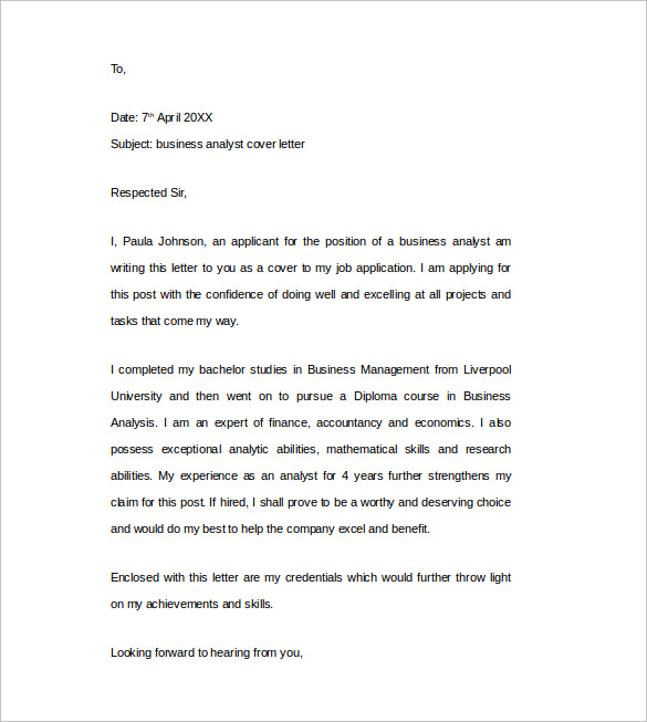 Business Analyst Cover Letter Word Template Free Download  Cover Letter Word Templates