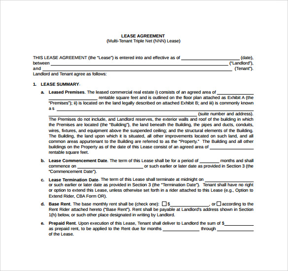 Sample Triple Net Lease Form - 7+ Download Free Documents In Pdf
