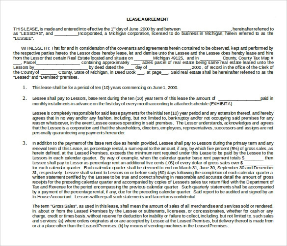 triple net lease form doc