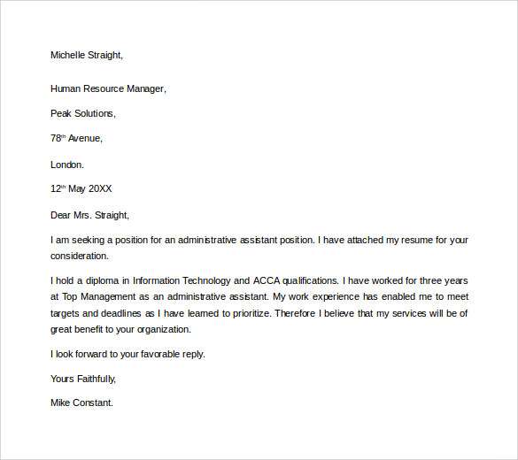 Sample Administrative Assistant Cover Letter Template Free