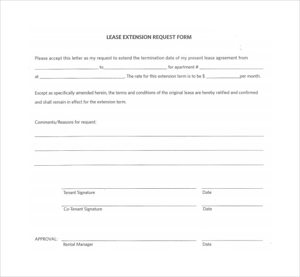 Sample Lease Extension Form - 8+ Download Free Documents In Pdf