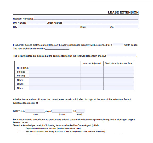 Sample Lease Extension Form 8 Download Free Documents in PDF – Lease Extension Form