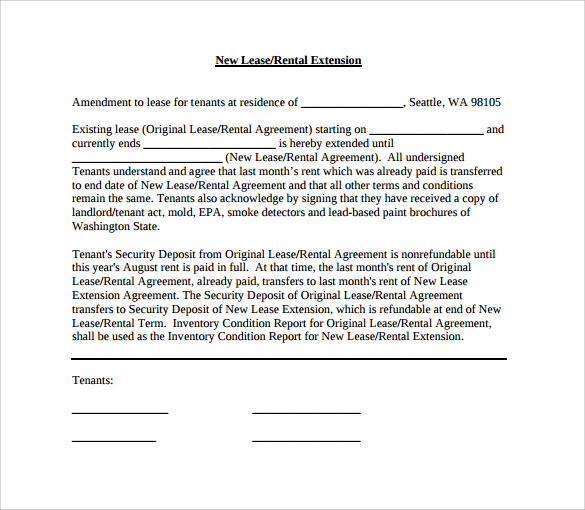 Sample Lease Extension Form 8 Download Free Documents In Pdf