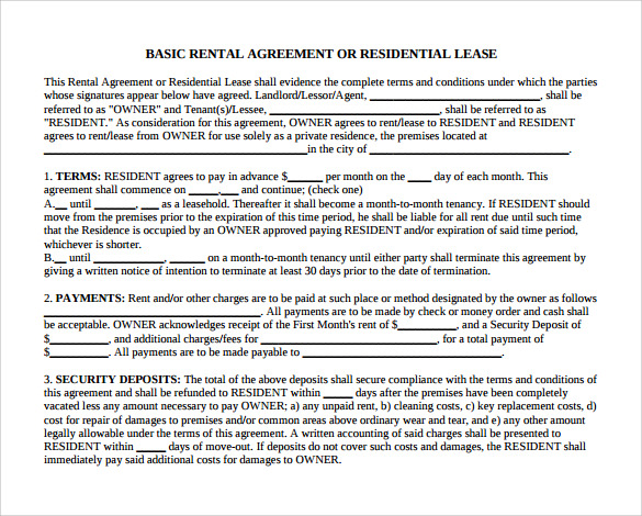 Basic Month To Month Rental Agreement Form  Lease Agreement Form Template