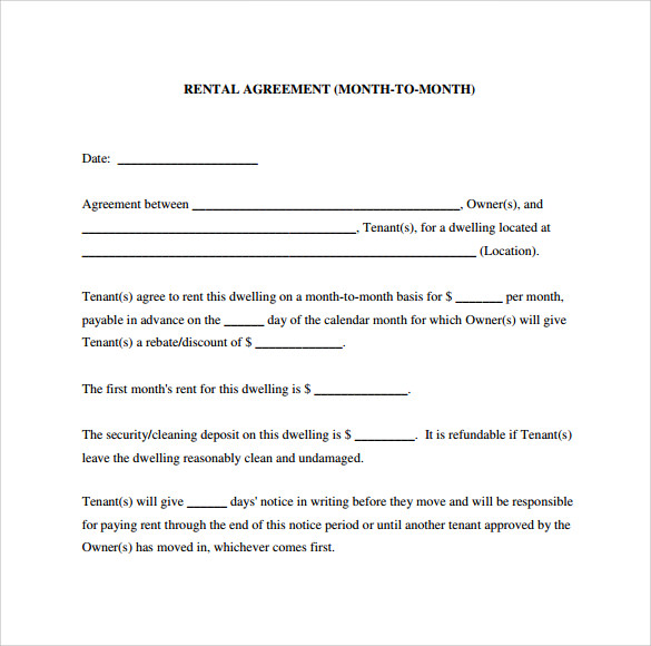 rental agreement form for month to month