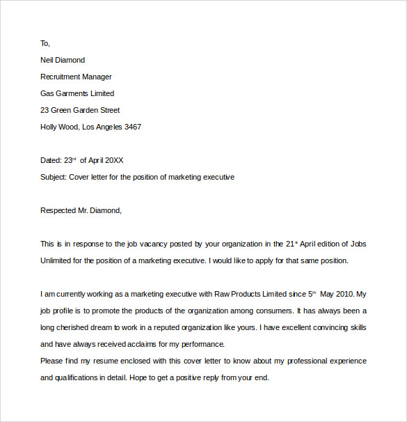 marketing executive cover letter free download in word
