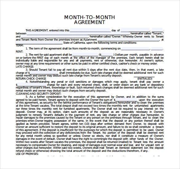 Sample Month to Month Rental Agreement Form 11 Free Documents in