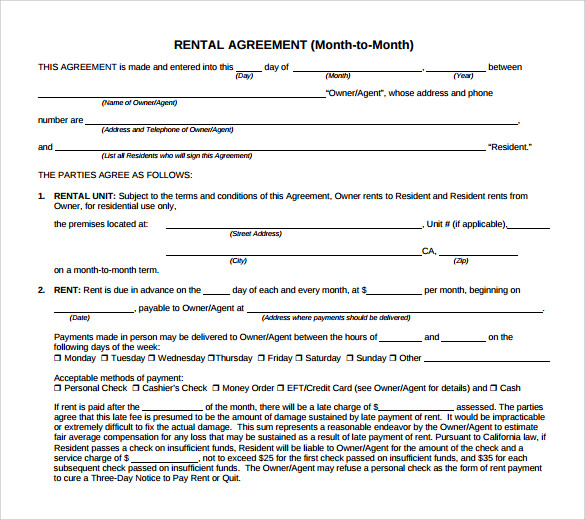month to month rental agreement form download
