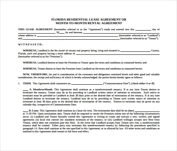 Sample Month to Month Rental Agreement Form 11 Free Documents – Rental Agreement Form Template