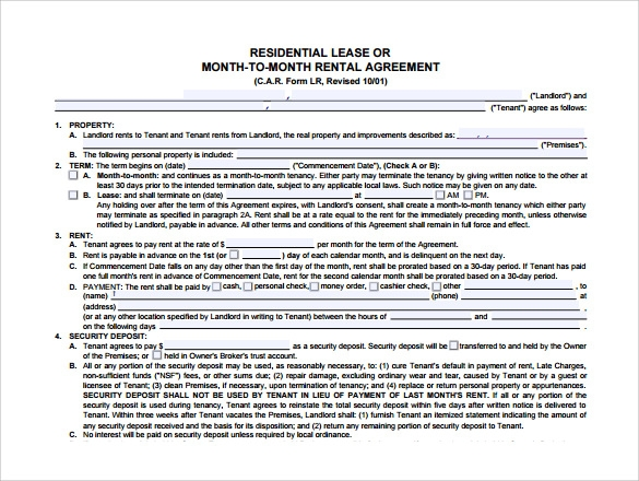 month to month rental agreement form pdf