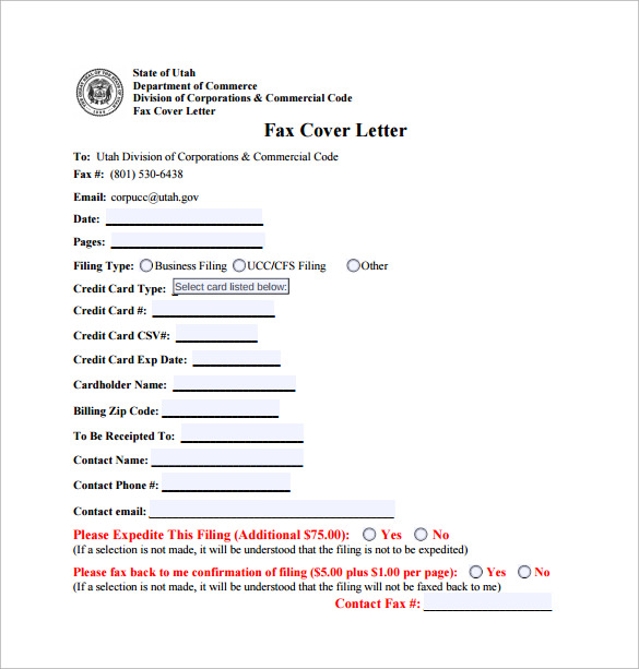 fax cover letter download