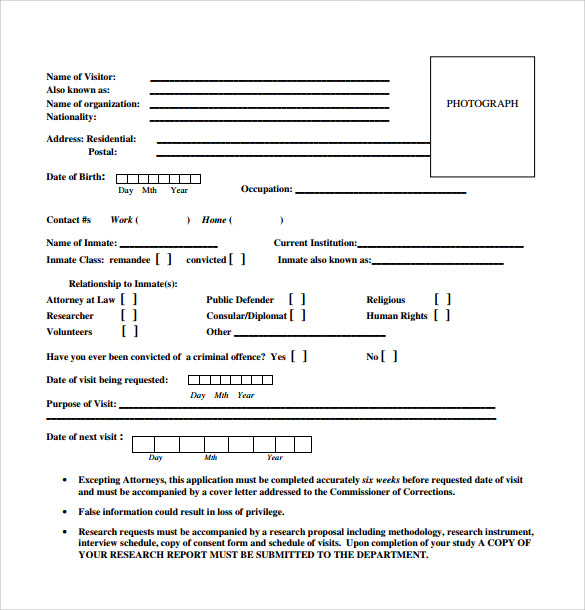 Sample Correctional Services Application Form 9 Download Free – Correctional Services Application Form