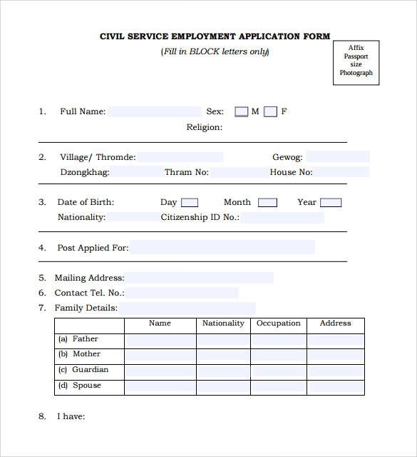 Sample Civil Service Exam Application Form - 8+ Download Free ...