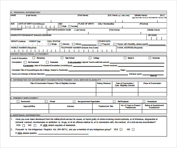 sample civil service exam application form 8 download free