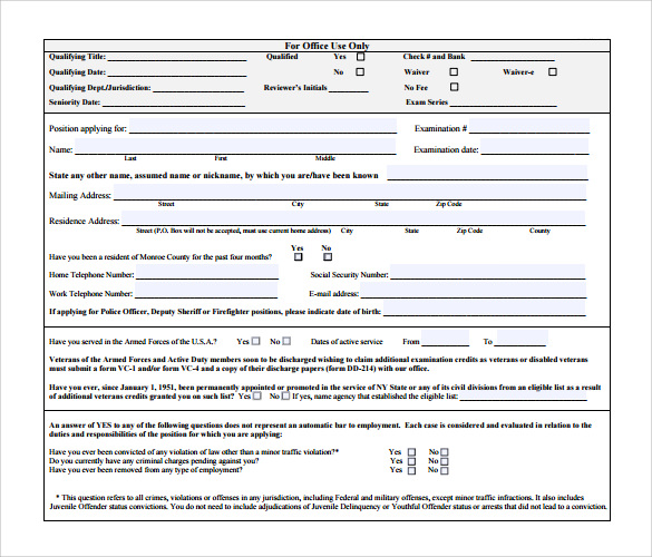 Sample Civil Service Exam Application Form - 8+ Download Free