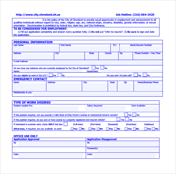 Sample Civil Service Exam Application Form   Download Free