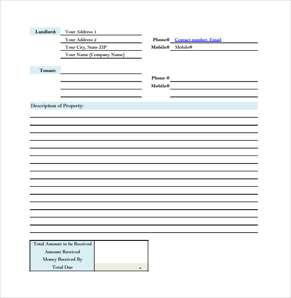 Sample Rent Receipt Form Template 7 Free Documents in PDF – Free House Rent Receipt Format