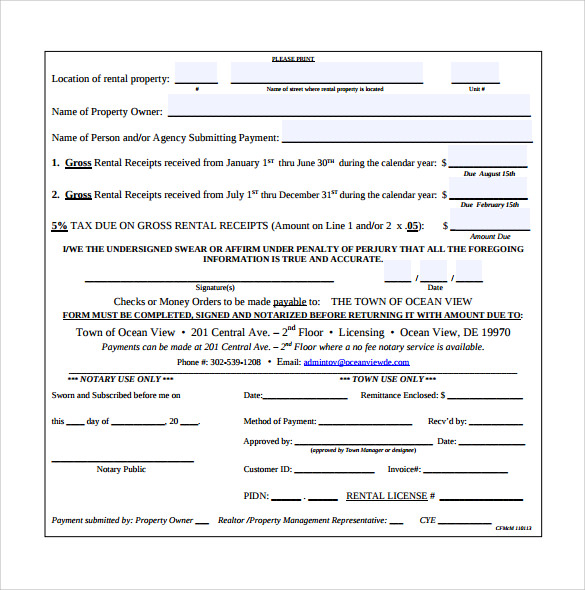 Sample Rent Receipt Form Template 7 Free Documents in PDF – Rental Receipt Form