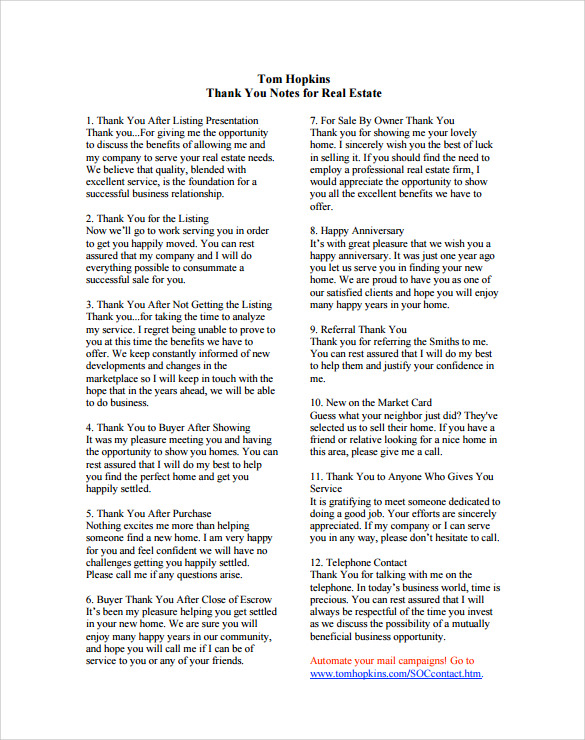 real estate business thankyou note pdf free download