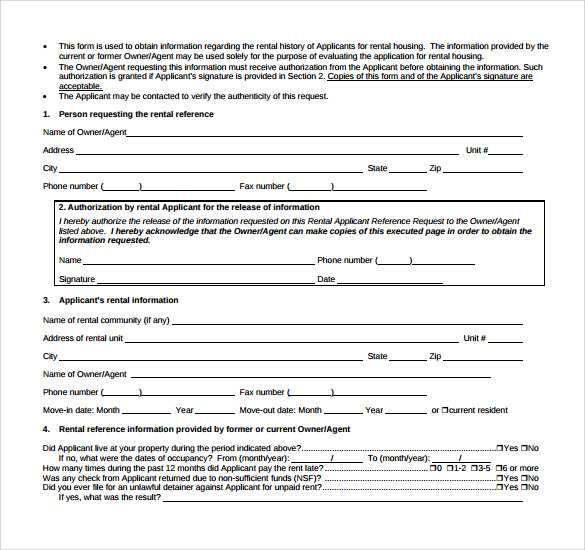 Sample Rental Reference Form - 8+ Download Free Documents In Pdf, Word