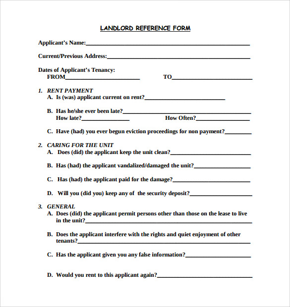 landlord rental reference form