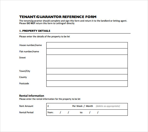 tenant rental reference form