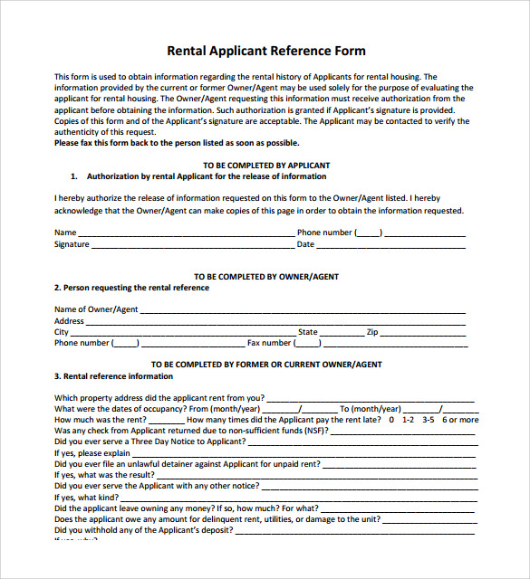 applicant rental reference form