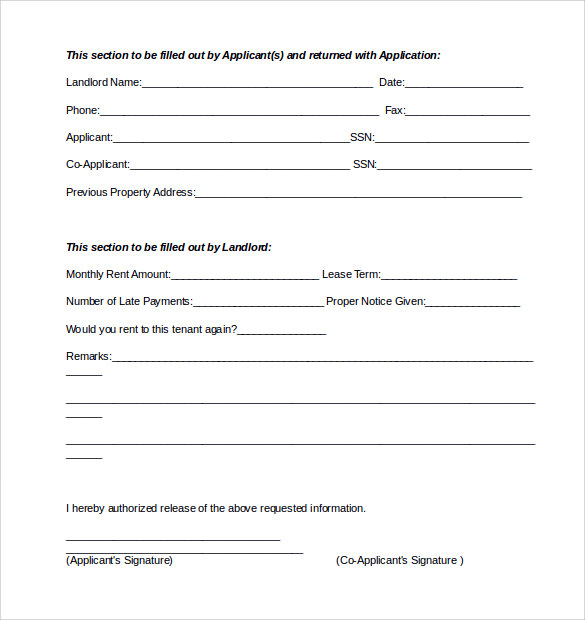 Sample Rental Reference Form 8 Download Free Documents in PDF Word – Employment Reference Form Template