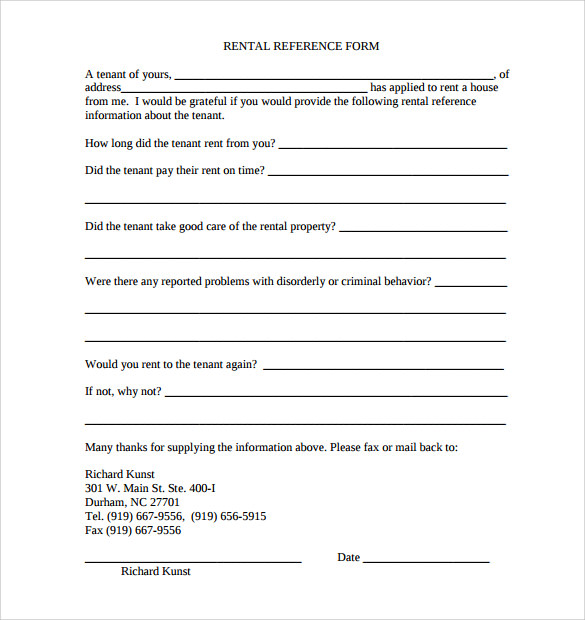 Sample Rental Reference Form   Download Free Documents In Pdf Word