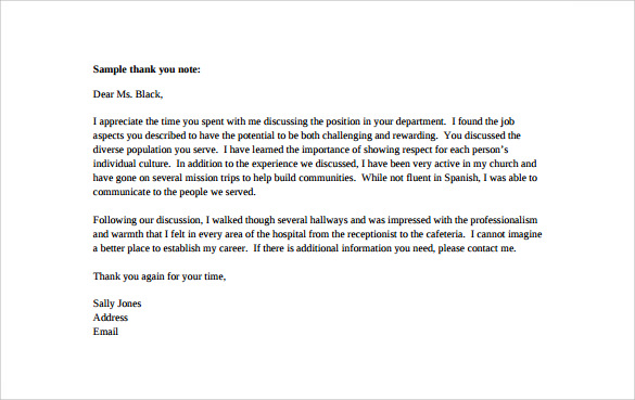 Sample Thank You Note   Free Documents In Word Pdf