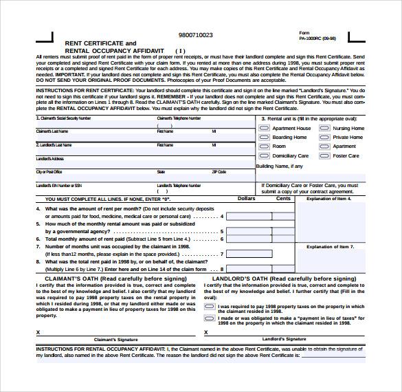 Rent Certificate Form Templates