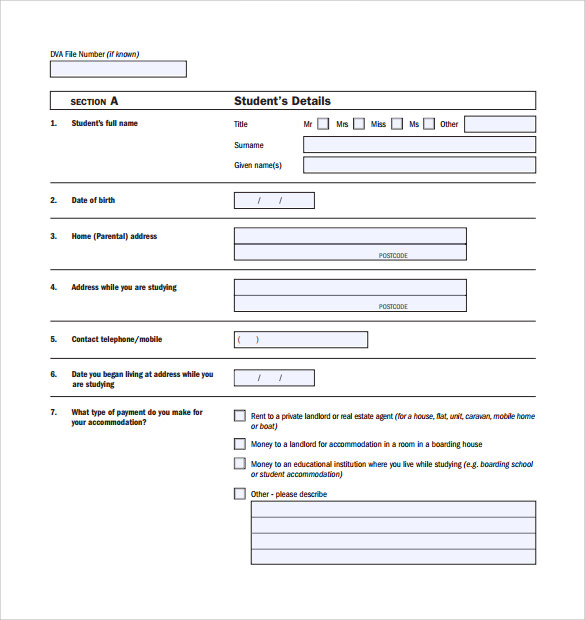 Sample Rental Assistance Form 10 Download Free Documents in PDF – Student Application Form Template