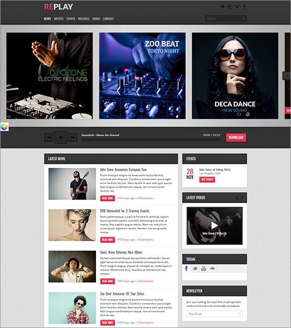 Responsive Radio WordPress Theme – $48
