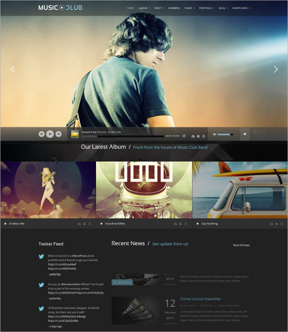 Music Radio Station WordPress Website Theme - $59