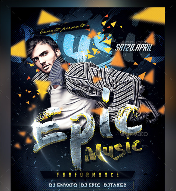 epic music flyer template download