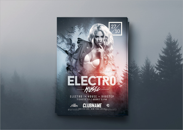 electro music flyer psd template1