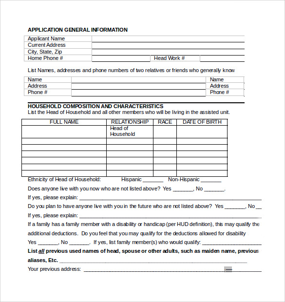 rental assistance form in word format