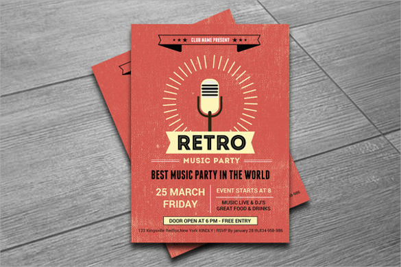 retro music party flyer template