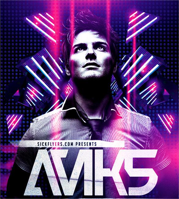 electro dance music concert flyer template