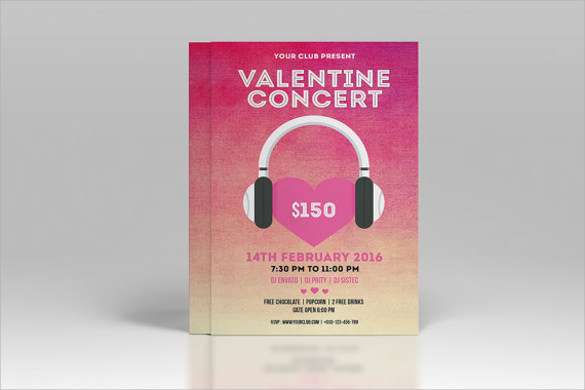 valentines music party flyer template