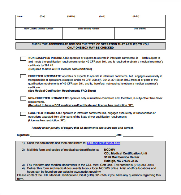 cdl medical sample form