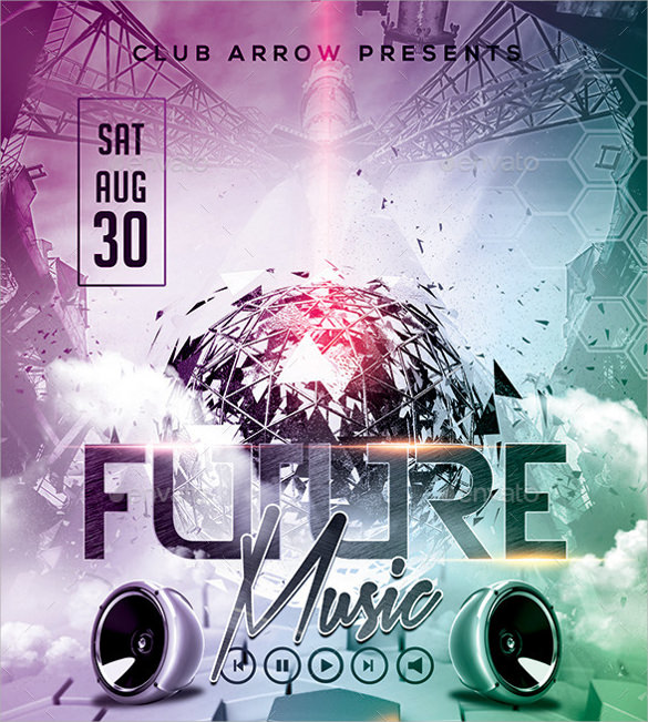 future music flyer template download