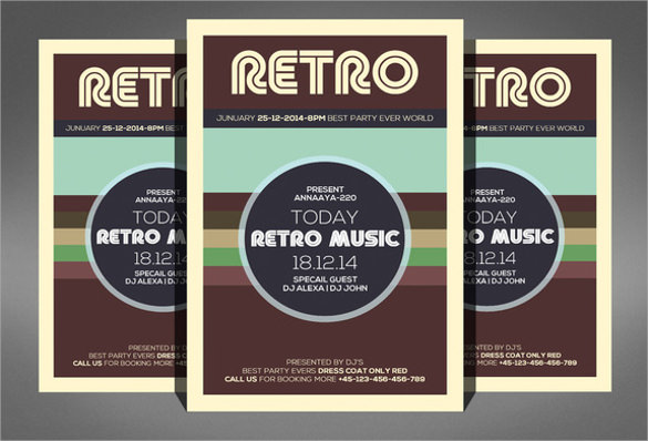 retro music flyer template download