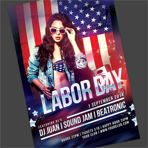 colourful labour day flyer template