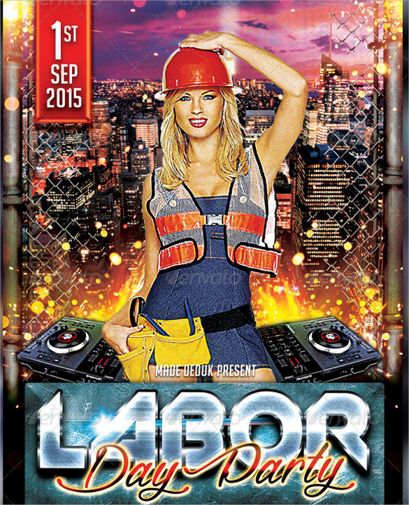 amazing labor day flyer template