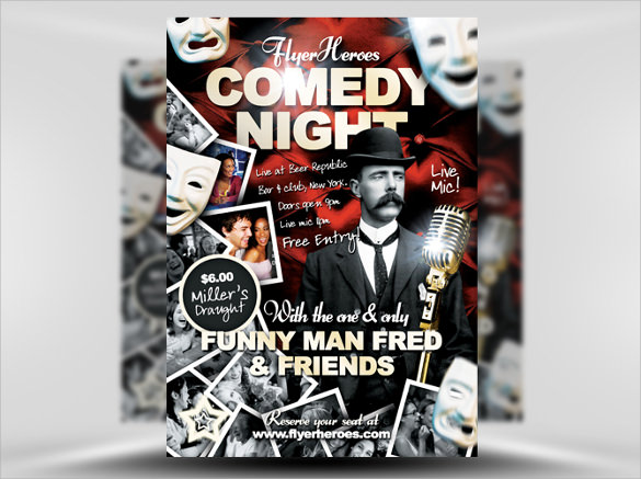 beautiful comedy show flyer template