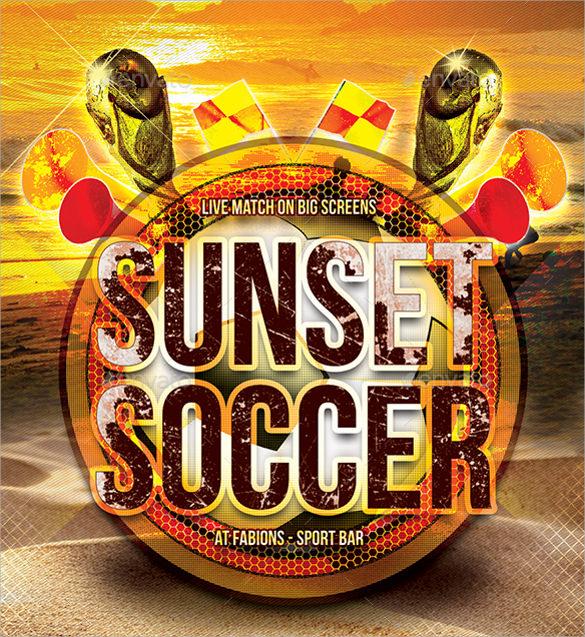 sunset soccer flyer template
