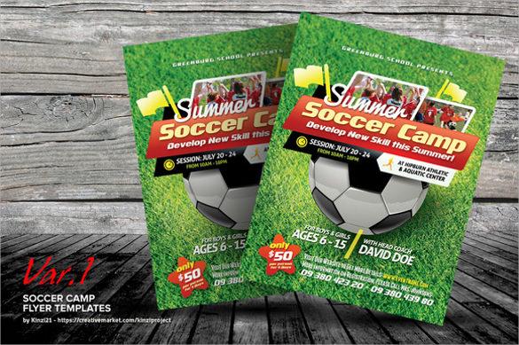 beautiful soccer camp flyer templates